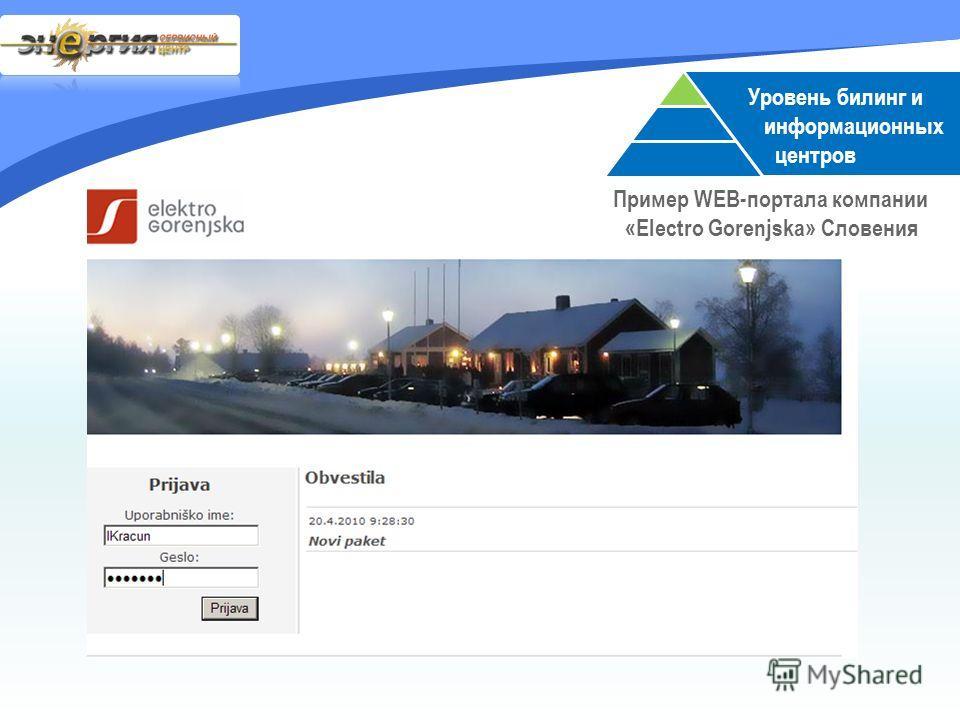 Уровень билинг и информационных центров Пример WEB-портала компании «Electro Gorenjska» Словения