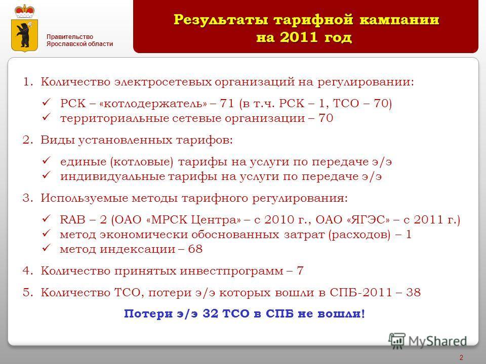 Правительство Ярославской области 2 Результаты тарифной кампании на 2011 год Результаты тарифной кампании на 2011 год 1.Количество электросетевых организаций на регулировании: РСК – «котлодержатель» – 71 (в т.ч. РСК – 1, ТСО – 70) территориальные сет