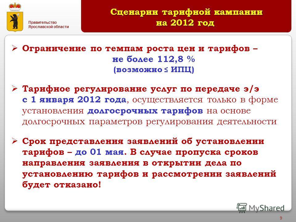 Правительство Ярославской области 9 Сценарии тарифной кампании на 2012 год Сценарии тарифной кампании на 2012 год Ограничение по темпам роста цен и тарифов – не более 112,8 % (возможно ИПЦ) Тарифное регулирование услуг по передаче э/э с 1 января 2012