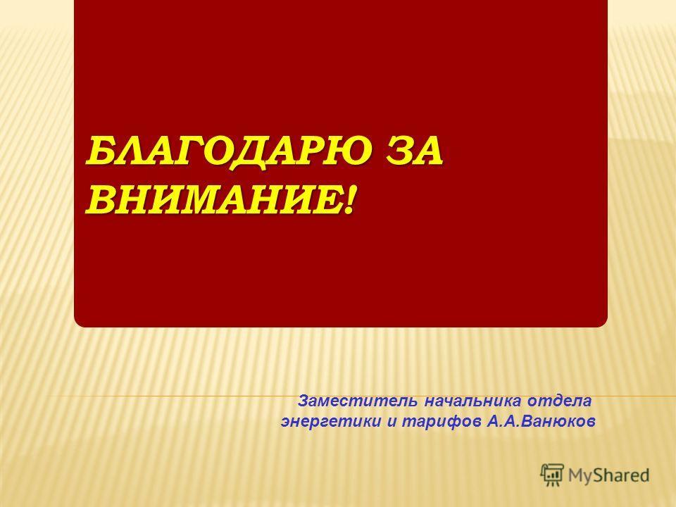 БЛАГОДАРЮ ЗА ВНИМАНИЕ! Заместитель начальника отдела энергетики и тарифов А.А.Ванюков
