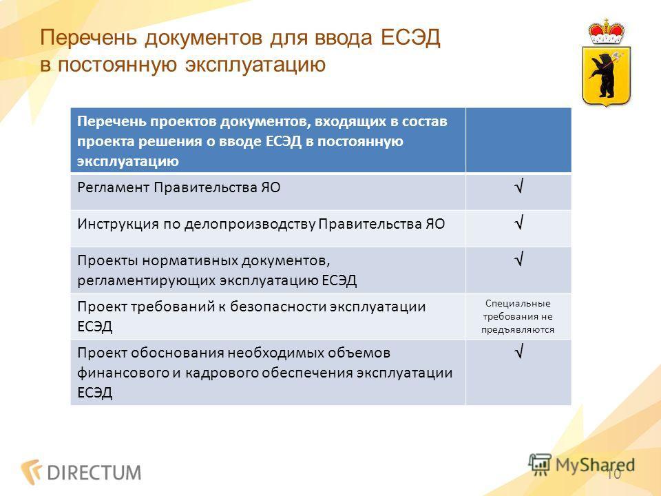 Перечень документов для ввода ЕСЭД в постоянную эксплуатацию 10 Перечень проектов документов, входящих в состав проекта решения о вводе ЕСЭД в постоянную эксплуатацию Регламент Правительства ЯО Инструкция по делопроизводству Правительства ЯО Проекты