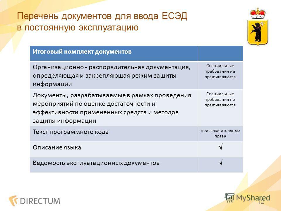 Перечень документов для ввода ЕСЭД в постоянную эксплуатацию 12 Итоговый комплект документов Организационно - распорядительная документация, определяющая и закрепляющая режим защиты информации Специальные требования не предъявляются Документы, разраб