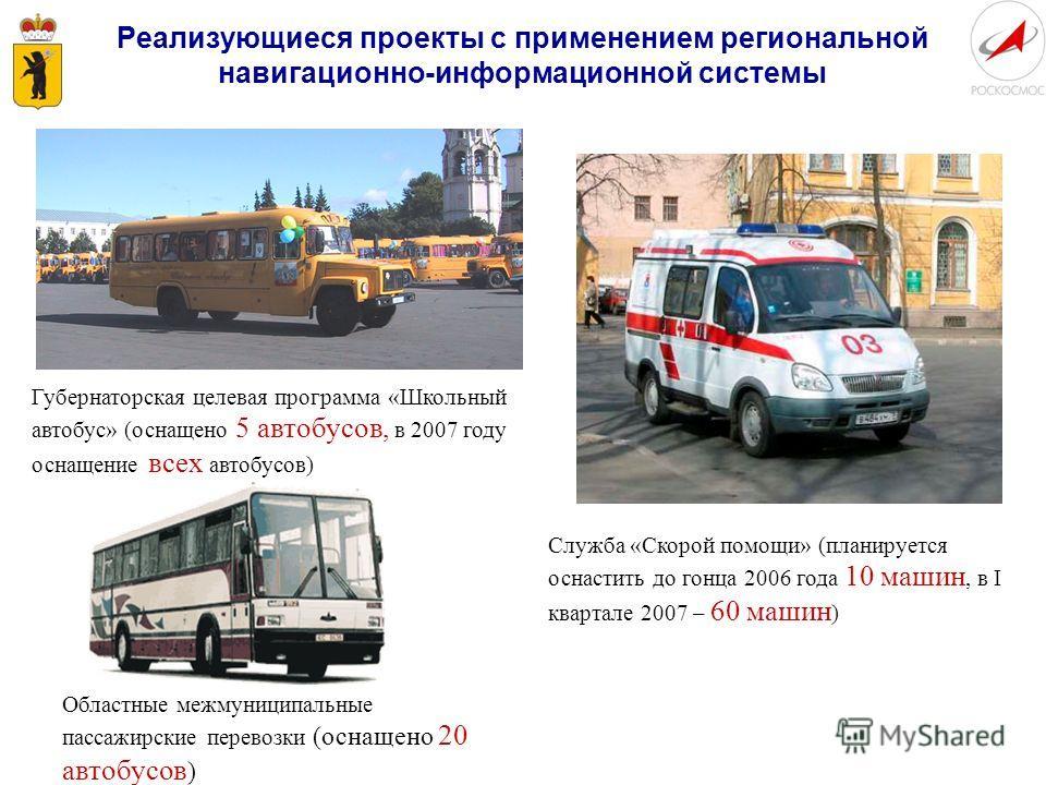 Реализующиеся проекты с применением региональной навигационно-информационной системы Губернаторская целевая программа «Школьный автобус» (оснащено 5 автобусов, в 2007 году оснащение всех автобусов) Областные межмуниципальные пассажирские перевозки (о