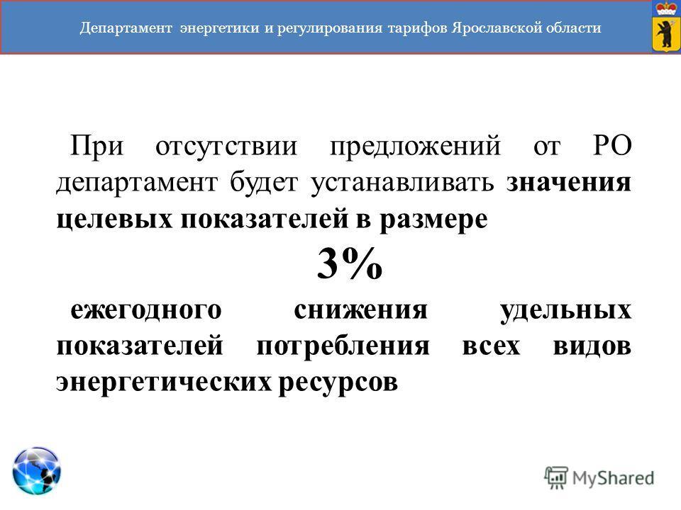 Департамент энергетики и регулирования тарифов Ярославской области При отсутствии предложений от РО департамент будет устанавливать значения целевых показателей в размере 3% ежегодного снижения удельных показателей потребления всех видов энергетическ