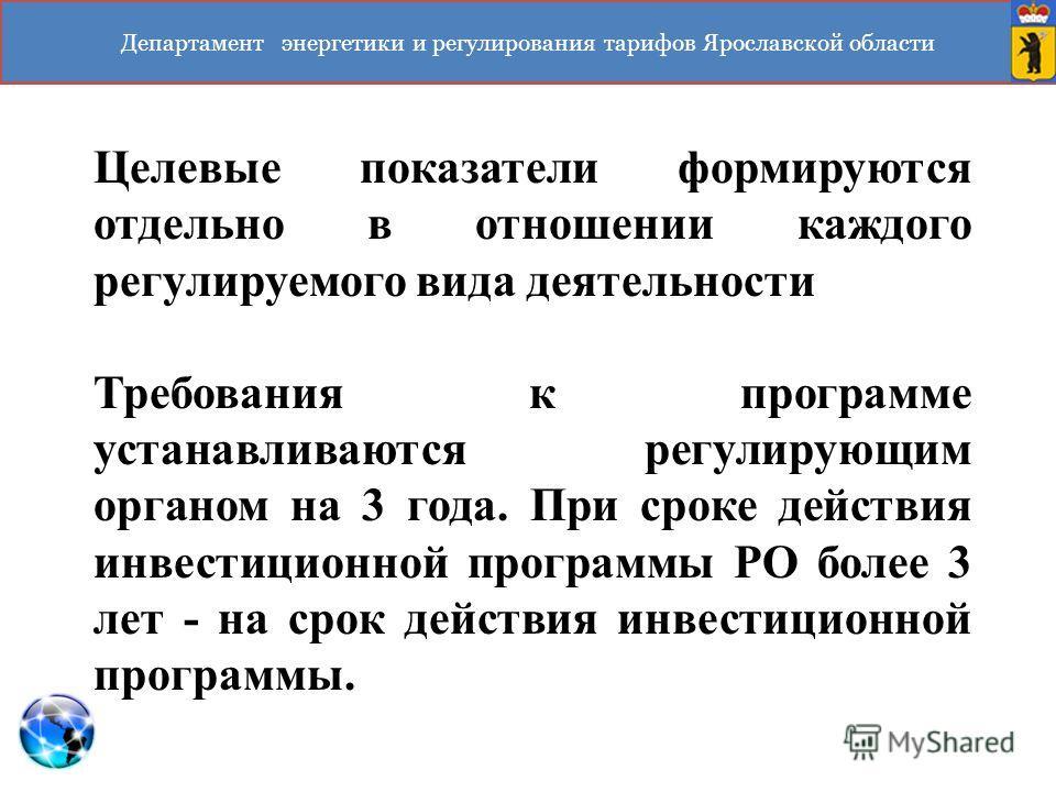 Департамент энергетики и регулирования тарифов Ярославской области Целевые показатели формируются отдельно в отношении каждого регулируемого вида деятельности Требования к программе устанавливаются регулирующим органом на 3 года. При сроке действия и