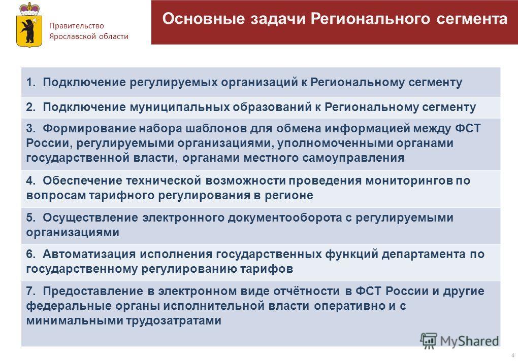 Правительство Ярославской области 4 1. Подключение регулируемых организаций к Региональному сегменту 2. Подключение муниципальных образований к Региональному сегменту 3. Формирование набора шаблонов для обмена информацией между ФСТ России, регулируем