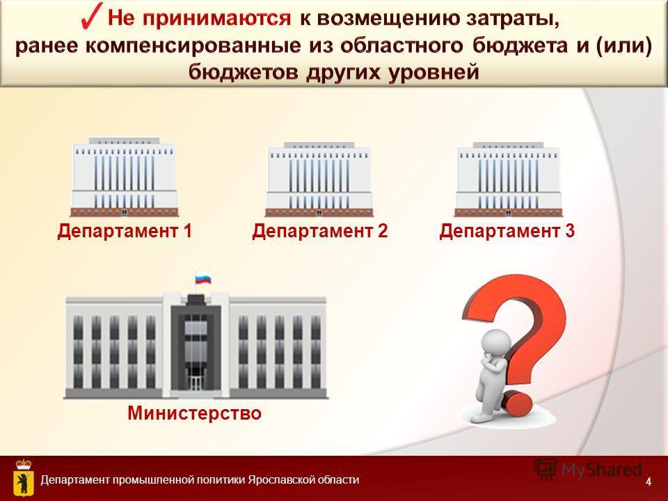 Департамент промышленной политики Ярославской области 4 Министерство Департамент 1Департамент 2Департамент 3