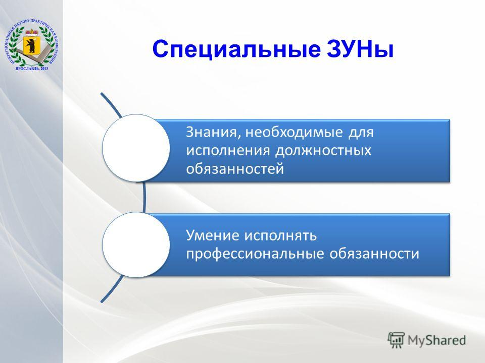 Специальные ЗУНы Знания, необходимые для исполнения должностных обязанностей Умение исполнять профессиональные обязанности