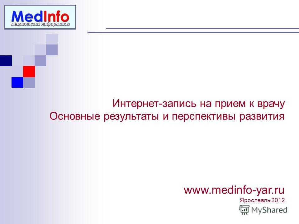 Интернет-запись на прием к врачу Основные результаты и перспективы развития www.medinfo-yar.ru Ярославль 2012