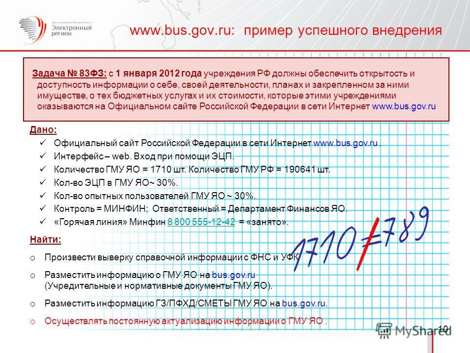 Задача 83ФЗ: c 1 января 2012 года учреждения РФ должны обеспечить открытость и доступность информации о себе, своей деятельности, планах и закрепленном за ними имуществе, о тех бюджетных услугах и их стоимости, которые этими учреждениями оказываются