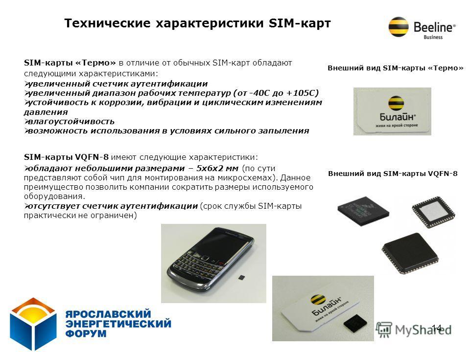 14 SIM-карты «Термо» в отличие от обычных SIM-карт обладают следующими характеристиками: увеличенный счетчик аутентификации увеличенный диапазон рабочих температур (от -40С до +105С) устойчивость к коррозии, вибрации и циклическим изменениям давления