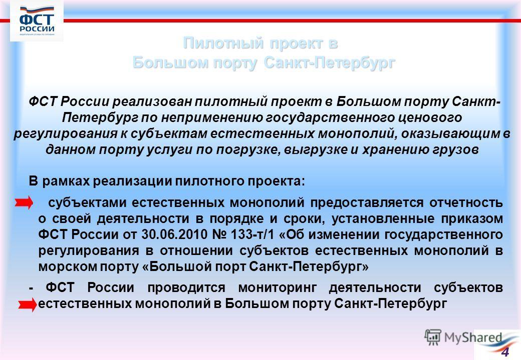 Пилотный проект в Большом порту Санкт-Петербург ФСТ России реализован пилотный проект в Большом порту Санкт- Петербург по неприменению государственного ценового регулирования к субъектам естественных монополий, оказывающим в данном порту услуги по по