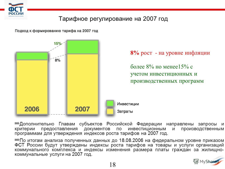 18 Тарифное регулирование на 2007 год Дополнительно Главам субъектов Российской Федерации направлены запросы и критерии предоставления документов по инвестиционным и производственным программам для утверждения индексов роста тарифов на 2007 год. По и
