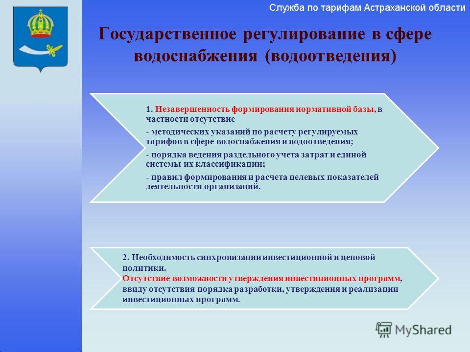 Государственное регулирование в сфере водоснабжения (водоотведения) 1. Незавершенность формирования нормативной базы, в частности отсутствие - методических указаний по расчету регулируемых тарифов в сфере водоснабжения и водоотведения; - порядка веде