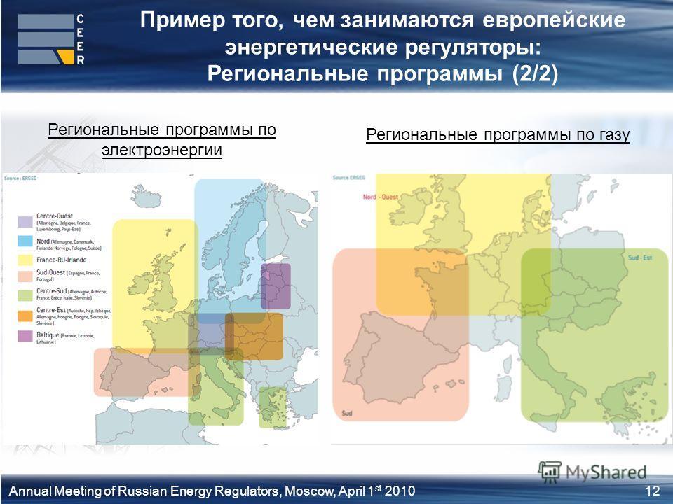 12Annual Meeting of Russian Energy Regulators, Moscow, April 1 st 2010 Региональные программы по электроэнергии Региональные программы по газу Пример того, чем занимаются европейские энергетические регуляторы: Региональные программы (2/2)