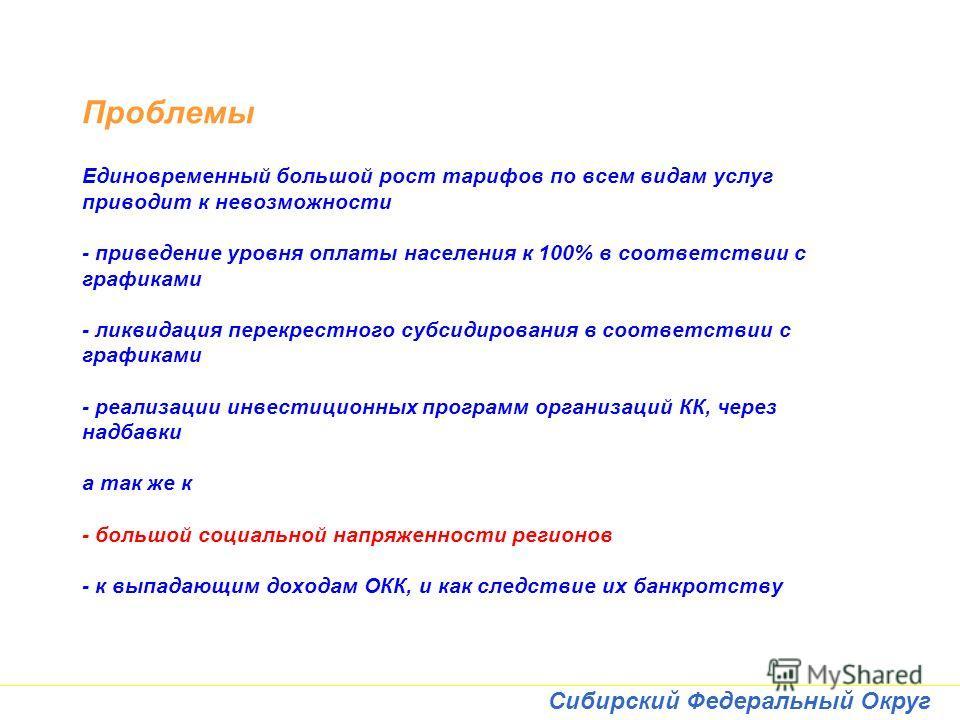 Сибирский Федеральный Округ Проблемы Единовременный большой рост тарифов по всем видам услуг приводит к невозможности - приведение уровня оплаты населения к 100% в соответствии с графиками - ликвидация перекрестного субсидирования в соответствии с гр
