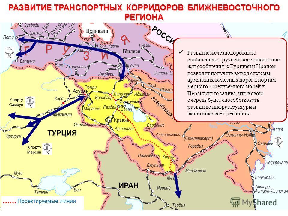 РАЗВИТИЕ ТРАНСПОРТНЫХ КОРРИДОРОВ БЛИЖНЕВОСТОЧНОГО РЕГИОНА Развитие железнодорожного сообщения с Грузией, восстановление ж/д сообщения с Турцией и Ираном позволит получить выход системы армянских железных дорог к портам Черного, Средиземного морей и П