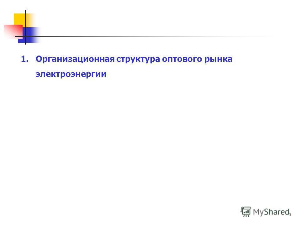 3 1.Организационная структура оптового рынка электроэнергии
