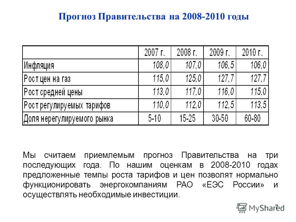 7 Прогноз Правительства на 2008-2010 годы Мы считаем приемлемым прогноз Правительства на три последующих года. По нашим оценкам в 2008-2010 годах предложенные темпы роста тарифов и цен позволят нормально функционировать энергокомпаниям РАО «ЕЭС Росси