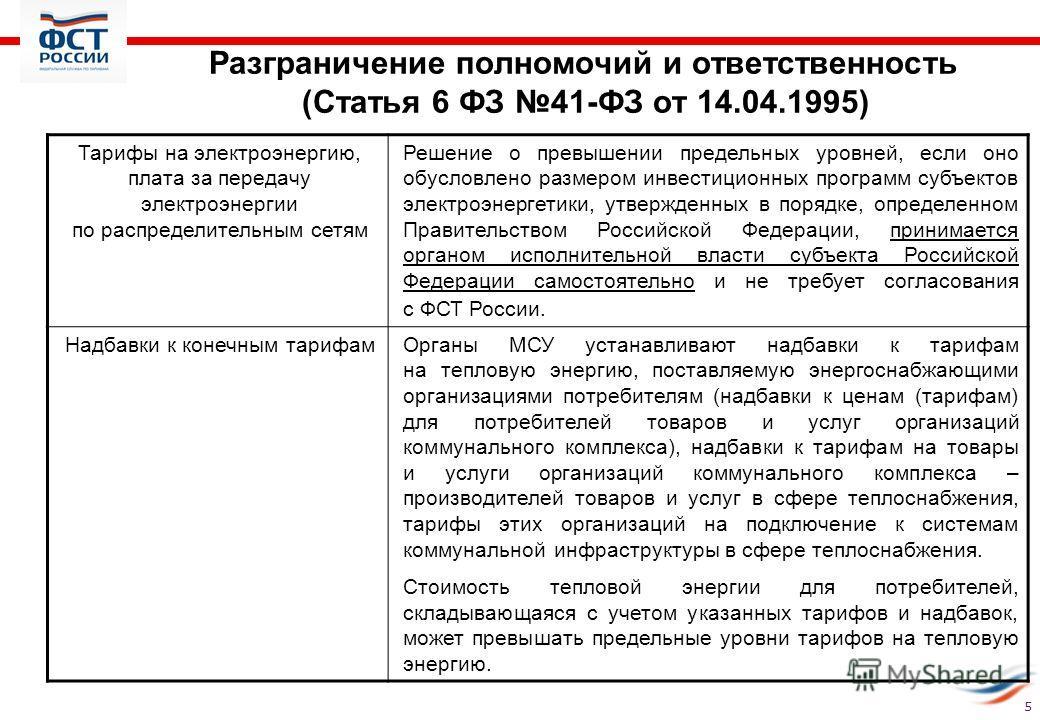 Разграничение полномочий и ответственность (Статья 6 ФЗ 41-ФЗ от 14.04.1995) Тарифы на электроэнергию, плата за передачу электроэнергии по распределительным сетям Решение о превышении предельных уровней, если оно обусловлено размером инвестиционных п