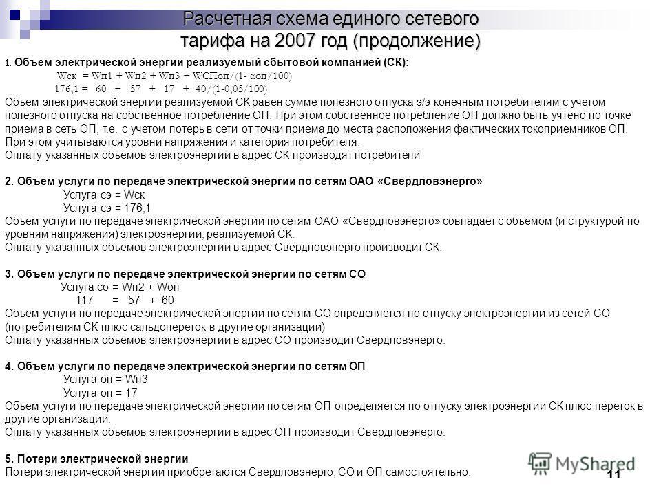 11 Расчетная схема единого сетевого тарифа на 2007 год (продолжение) 1. Объем электрической энергии реализуемый сбытовой компанией (СК): Wск = Wп1 + Wп2 + Wп3 + WСПоп/(1- αоп/100) 176,1 = 60 + 57 + 17 + 40/(1-0,05/100) Объем электрической энергии реа