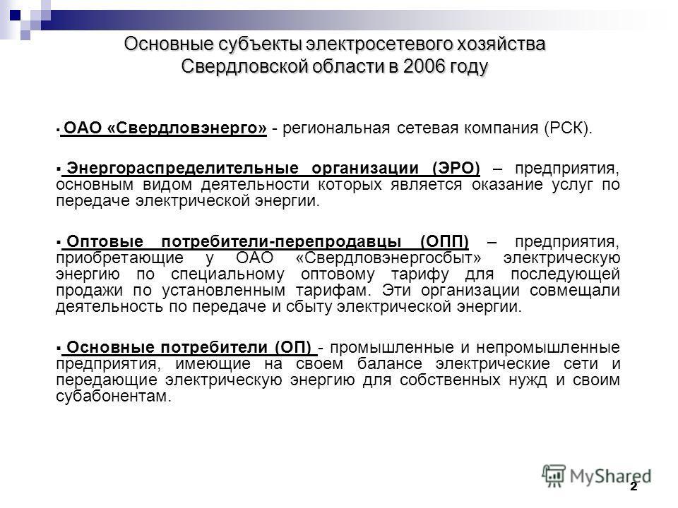 2 Основные субъекты электросетевого хозяйства Свердловской области в 2006 году ОАО «Свердловэнерго» - региональная сетевая компания (РСК). Энергораспределительные организации (ЭРО) – предприятия, основным видом деятельности которых является оказание
