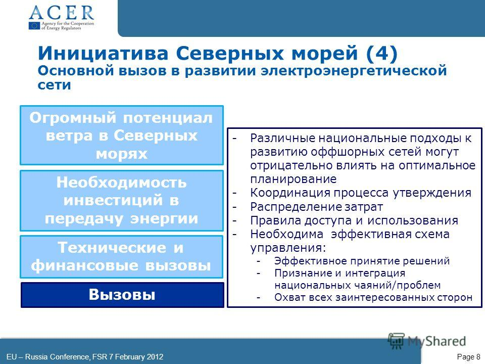 EU – Russia Conference, FSR 7 February 2012Page 8 Инициатива Северных морей (4) Основной вызов в развитии электроэнергетической сети Огромный потенциал ветра в Северных морях -Различные национальные подходы к развитию оффшорных сетей могут отрицатель