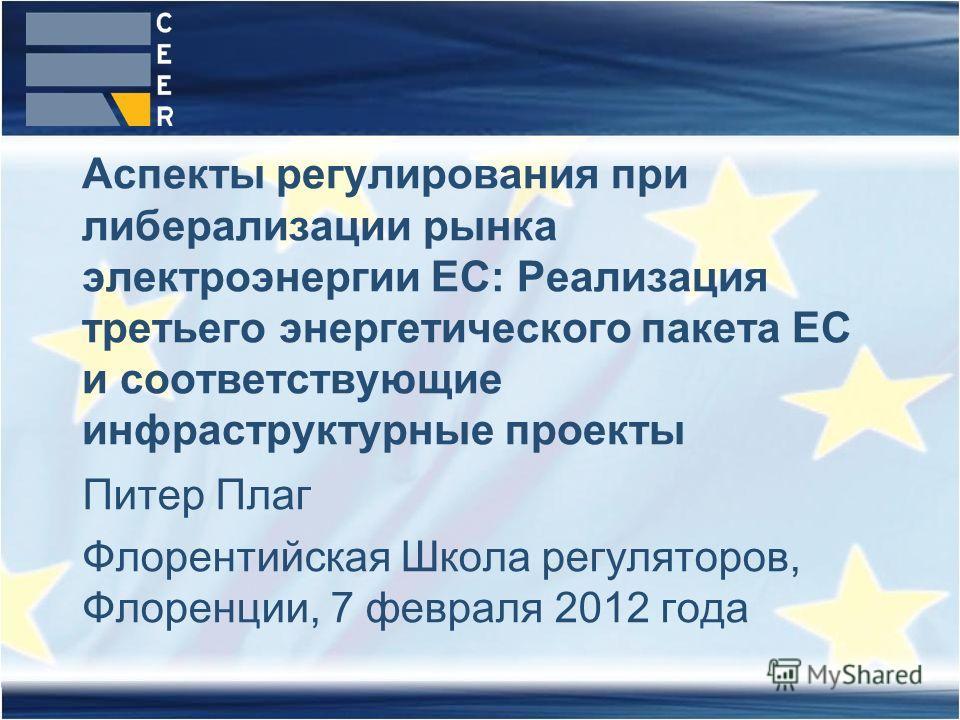 Питер Плаг Флорентийская Школа регуляторов, Флоренции, 7 февраля 2012 года Аспекты регулирования при либерализации рынка электроэнергии ЕС: Реализация третьего энергетического пакета ЕС и соответствующие инфраструктурные проекты