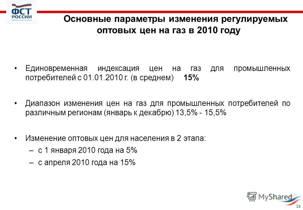 Основные параметры изменения регулируемых оптовых цен на газ в 2010 году 15 Единовременная индексация цен на газ для промышленных потребителей с 01.01.2010 г. (в среднем) 15% Диапазон изменения цен на газ для промышленных потребителей по различным ре