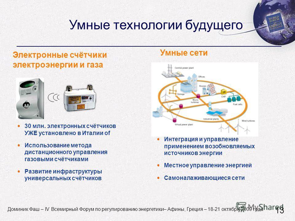 Dominique Fache - World Forum on Energy Regulation IV - Athens, Greece - October 18-21, 2009 Умные технологии будущего Умные сети Интеграция и управление применением возобновляемых источников энергии Местное управление энергией Самоналаживающиеся сет