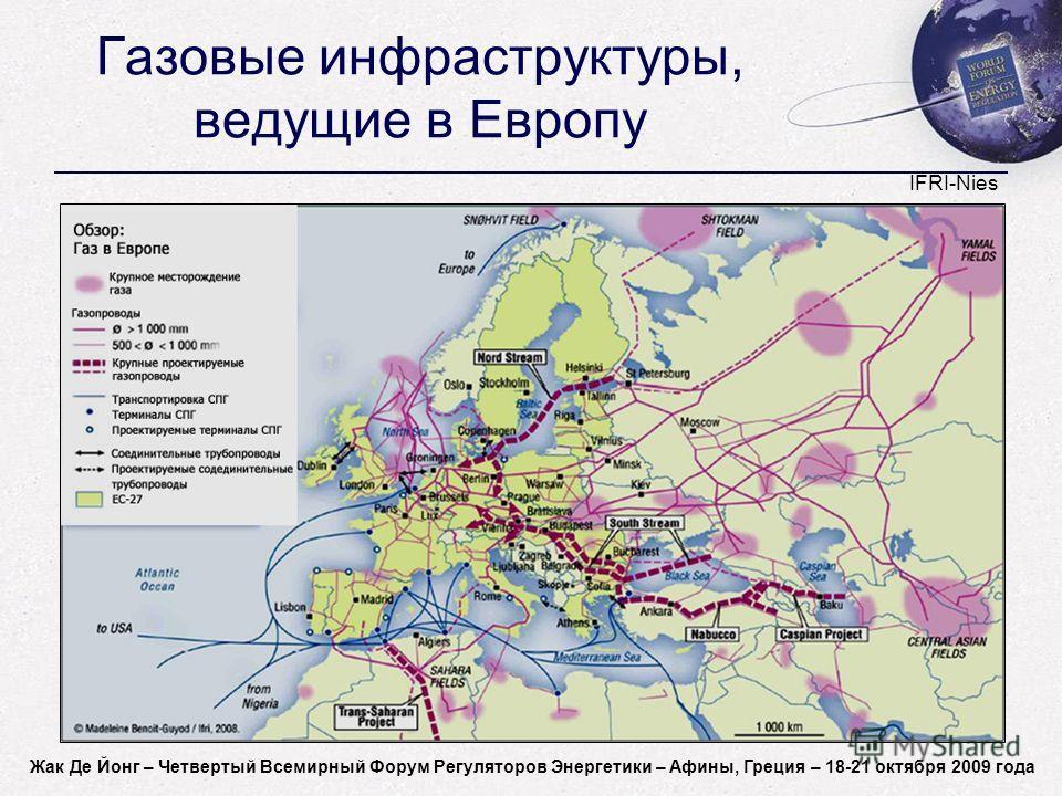 Jacques de Jong - World Forum on Energy Regulation IV - Athens, Greece - October 18-21, 2009 Газовые инфраструктуры, ведущие в Европу IFRI-Nies Жак Де Йонг – Четвертый Всемирный Форум Регуляторов Энергетики – Афины, Греция – 18-21 октября 2009 года