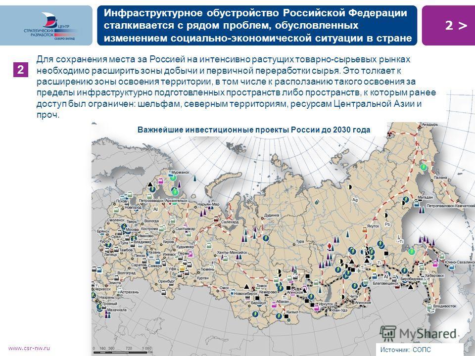 2 >2 > www.csr-nw.ru Инфраструктурное обустройство Российской Федерации сталкивается с рядом проблем, обусловленных изменением социально-экономической ситуации в стране 2 Источник: СОПС Для сохранения места за Россией на интенсивно растущих товарно-с