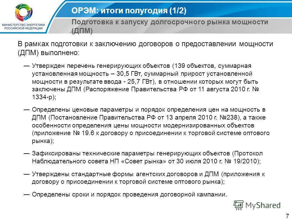 7 В рамках подготовки к заключению договоров о предоставлении мощности (ДПМ) выполнено: Утвержден перечень генерирующих объектов (139 объектов, суммарная установленная мощность – 30,5 ГВт, суммарный прирост установленной мощности в результате ввода -