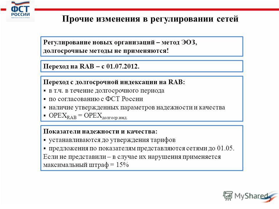 Прочие изменения в регулировании сетей Переход с долгосрочной индексации на RAB: в т.ч. в течение долгосрочного периода по согласованию с ФСТ России наличие утвержденных параметров надежности и качества ОРЕХ RAB = OPEX долгоср.инд. Регулирование новы