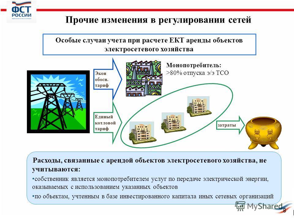 Прочие изменения в регулировании сетей Расходы, связанные с арендой объектов электросетевого хозяйства, не учитываются: собственник является монопотребителем услуг по передаче электрической энергии, оказываемых с использованием указанных объектов по