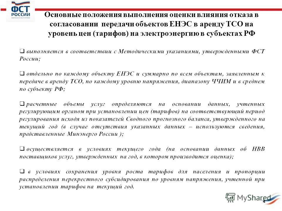 Основные положения выполнения оценки влияния отказа в согласовании передачи объектов ЕНЭС в аренду ТСО на уровень цен (тарифов) на электроэнергию в субъектах РФ 4