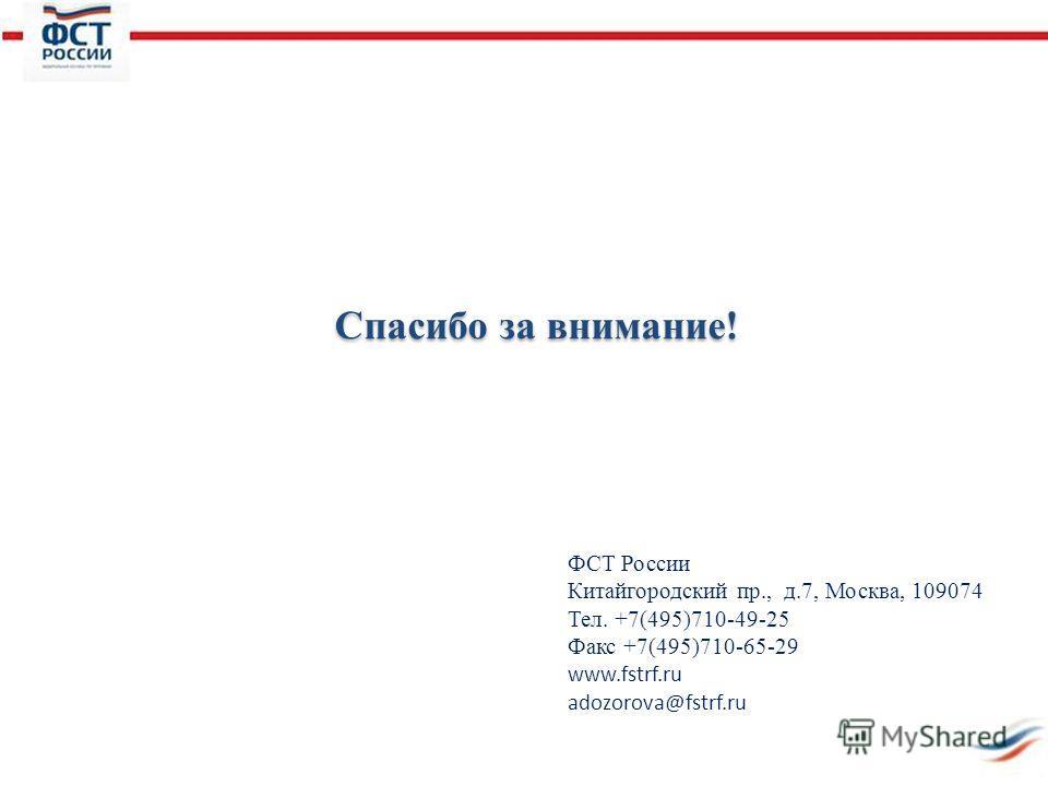 Спасибо за внимание! ФСТ России Китайгородский пр., д.7, Москва, 109074 Тел. +7(495)710-49-25 Факс +7(495)710-65-29 www.fstrf.ru adozorova@fstrf.ru