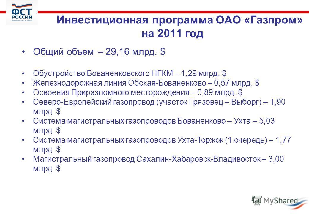 Инвестиционная программа ОАО «Газпром» на 2011 год Общий объем – 29,16 млрд. $ Обустройство Бованенковского НГКМ – 1,29 млрд. $ Железнодорожная линия Обская-Бованенково – 0,57 млрд. $ Освоения Приразломного месторождения – 0,89 млрд. $ Северо-Европей