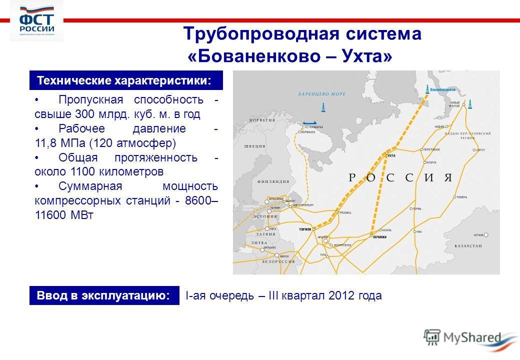 Трубопроводная система «Бованенково – Ухта» Технические характеристики: Пропускная способность - свыше 300 млрд. куб. м. в год Рабочее давление - 11,8 МПа (120 атмосфер) Общая протяженность - около 1100 километров Суммарная мощность компрессорных ста