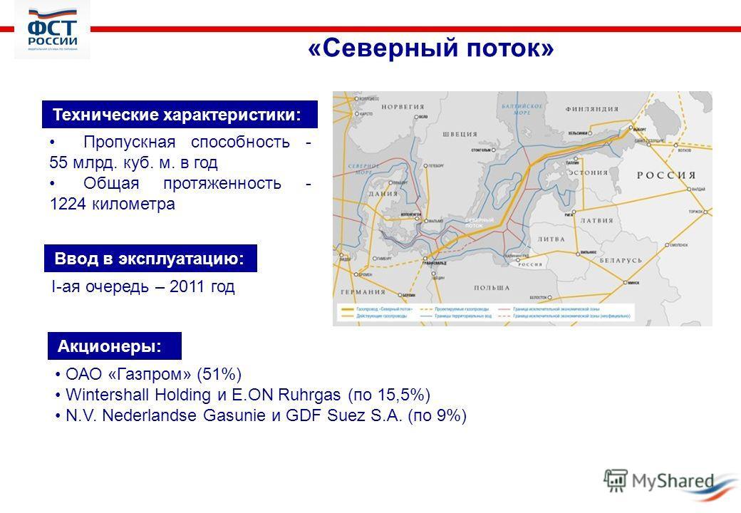 «Северный поток» Технические характеристики: Пропускная способность - 55 млрд. куб. м. в год Общая протяженность - 1224 километра I-ая очередь – 2011 год Ввод в эксплуатацию: Акционеры: ОАО «Газпром» (51%) Wintershall Holding и E.ON Ruhrgas (по 15,5%