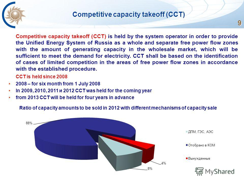 9 Competitive capacity takeoff (CCT) is held by the system operator in order to provide the Unified Energy System of Russia as a whole and separate free power flow zones with the amount of generating capacity in the wholesale market, which will be su