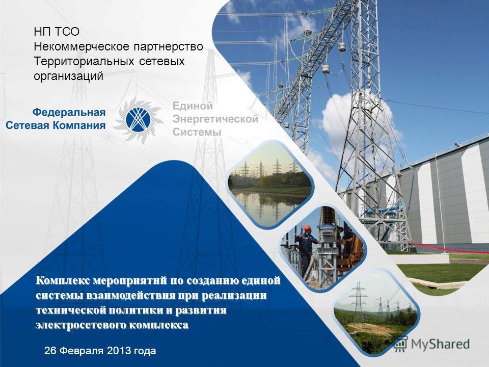 Комплекс мероприятий по созданию единой системы взаимодействия при реализации технической политики и развития электросетевого комплекса 26 Февраля 2013 года НП ТСО Некоммерческое партнерство Территориальных сетевых организаций