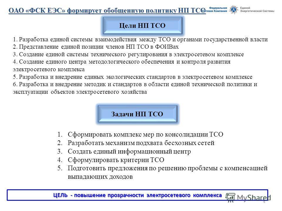 4 Цели НП ТСО ОАО «ФСК ЕЭС» формирует обобщенную политику НП ТСО 1. Разработка единой системы взаимодействия между ТСО и органами государственной власти 2. Представление единой позиции членов НП ТСО в ФОИВах 3. Создание единой системы технического ре