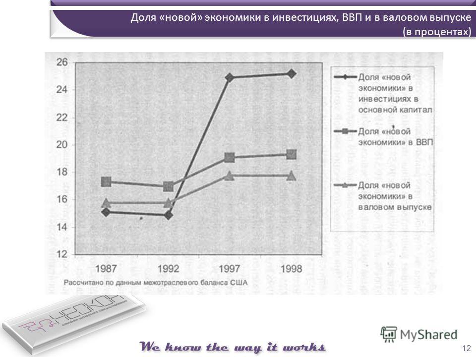12 Доля «новой» экономики в инвестициях, ВВП и в валовом выпуске (в процентах)