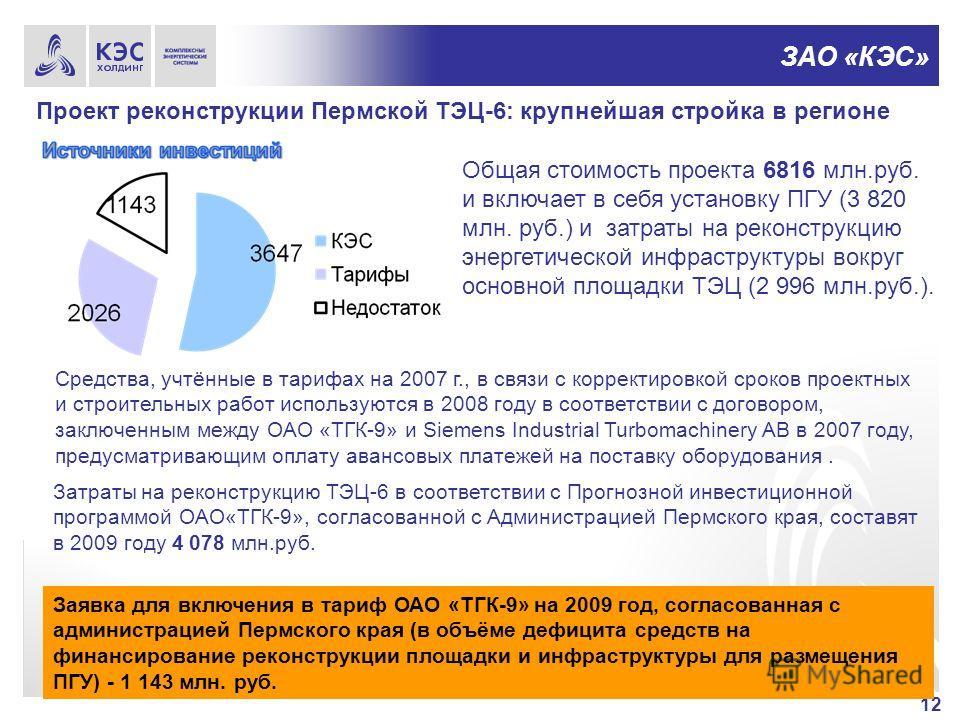 ЗАО «КЭС» Проект реконструкции Пермской ТЭЦ-6: крупнейшая стройка в регионе 12 Общая стоимость проекта 6816 млн.руб. и включает в себя установку ПГУ (3 820 млн. руб.) и затраты на реконструкцию энергетической инфраструктуры вокруг основной площадки Т