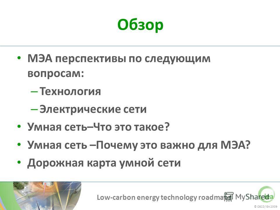 © OECD/IEA 2009 Low-carbon energy technology roadmaps Обзор МЭА перспективы по следующим вопросам: – Технология – Электрические сети Умная сеть–Что это такое? Умная сеть –Почему это важно для МЭА? Дорожная карта умной сети