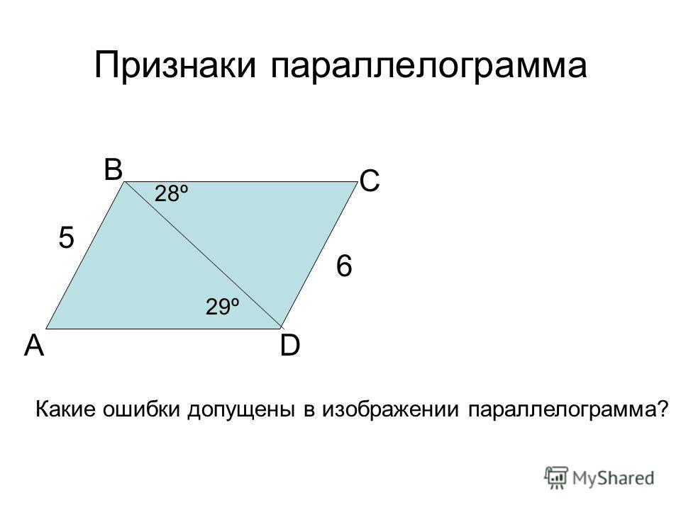 Признаки параллелограмма А В С D Какие ошибки допущены в изображении параллелограмма? 6 29º 5 28º