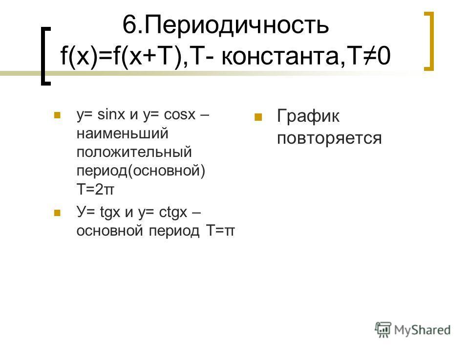 6.Периодичность f(х)=f(х+T),T- константа,T 0 у= sinx и y= cosx – наименьший положительный период(основной) T=2π У= tgx и у= ctgx – основной период T=π График повторяется