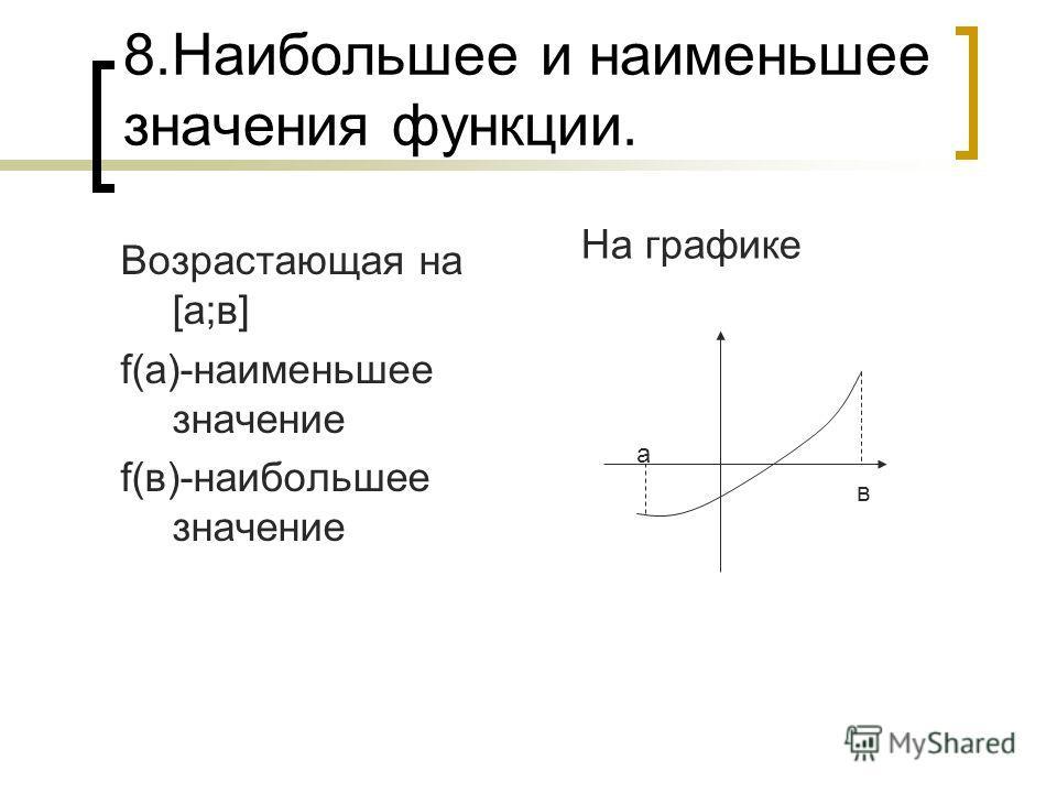 8.Наибольшее и наименьшее значения функции. Возрастающая на [а;в] f(а)-наименьшее значение f(в)-наибольшее значение На графике а в