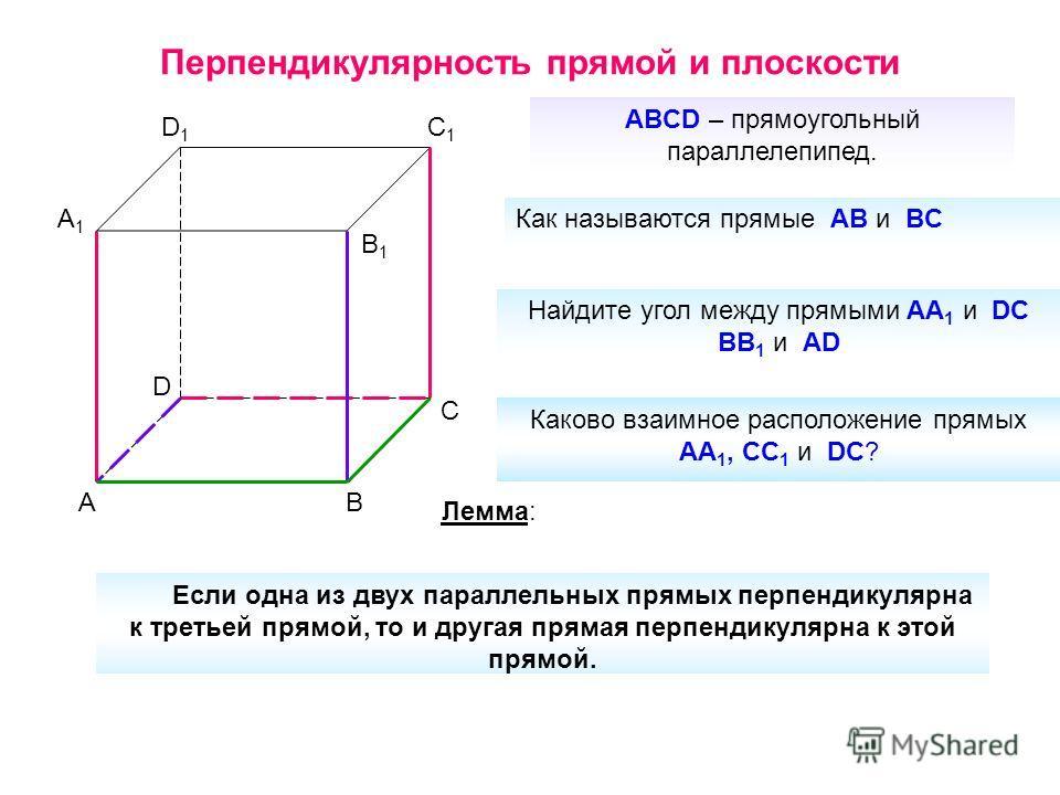 Перпендикулярность прямой и плоскости D1D1 C1C1 B1B1 A1A1 D C BA ABCD – прямоугольный параллелепипед. Как называются прямые AB и BC Найдите угол между прямыми AA 1 и DC BB 1 и AD Каково взаимное расположение прямых AA 1, CC 1 и DC? Лемма: Если одна и